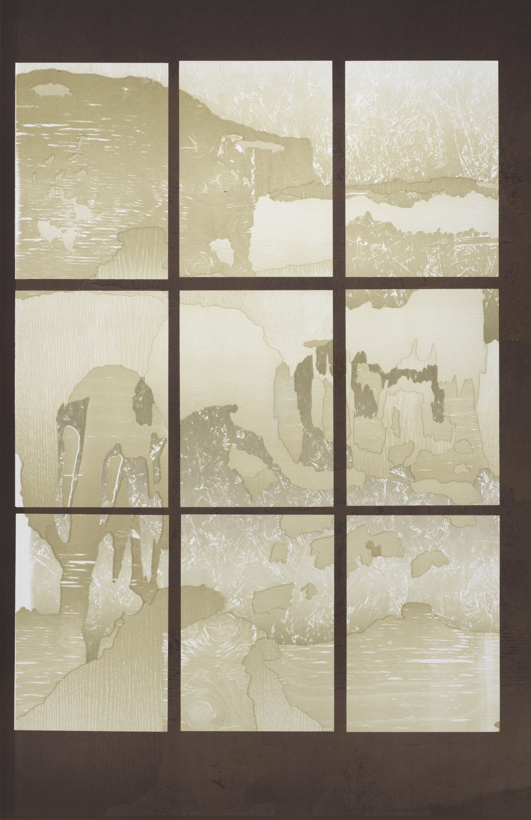 "Andreas Eriksson, Window 10, 2019, monotype, 44 1⁄2 × 28 3⁄4""."