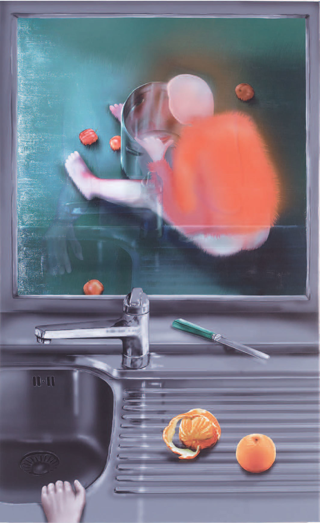 "Louisa Gagliardi, Apples and Oranges, 2020, ink and gel medium on PVC, 70 7⁄8 × 44 1⁄8""."