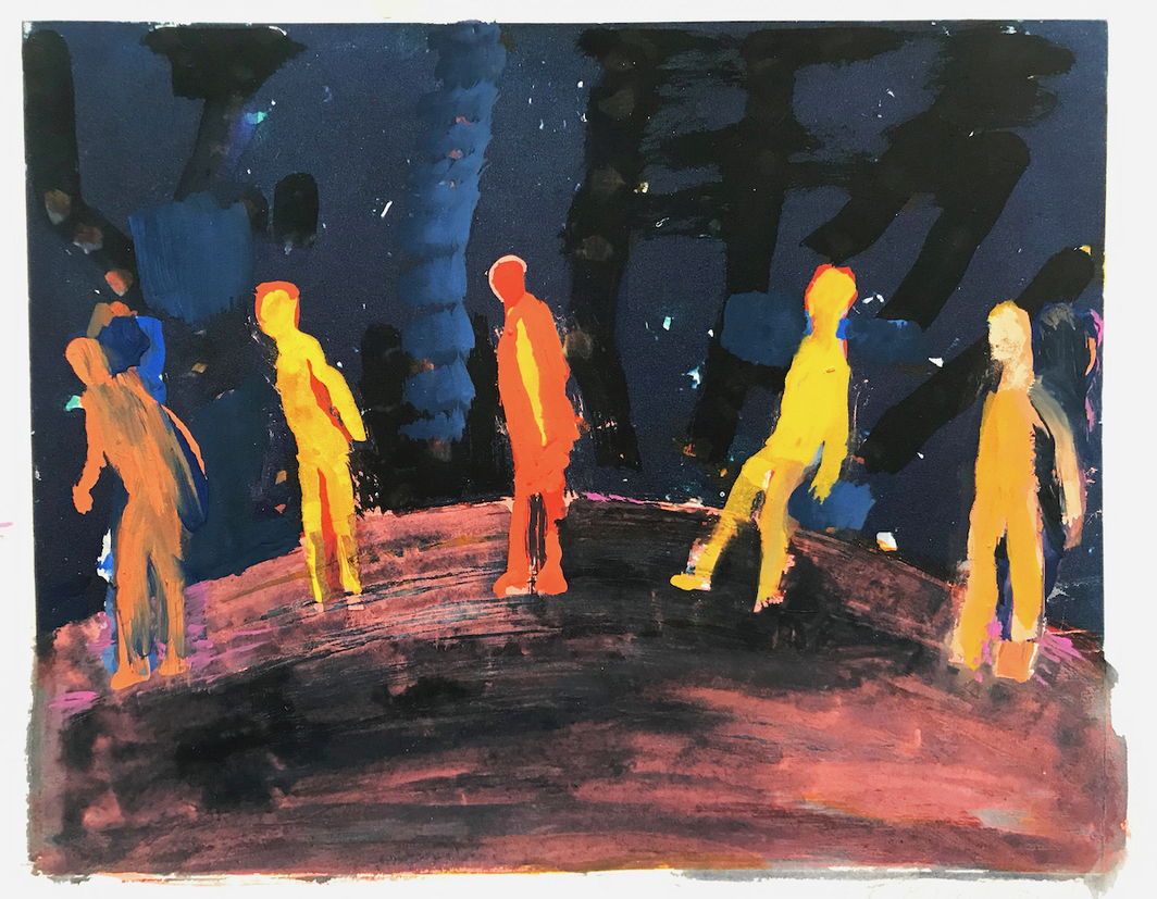 "Katherine Bradford, Waiting in Line, 2020, gouache on paper, 13 x 14"". For the time being my studio is a kitchen table in Maine where I've been making works on paper. Several old themes keep popping up but at this point my swimmers look like they're social distancing when they used to just look like upright swimmers. My Supermen look fragile and in fact everyone in these current pieces has an alone together look—physically apart but bravely trying to look more together than they are."