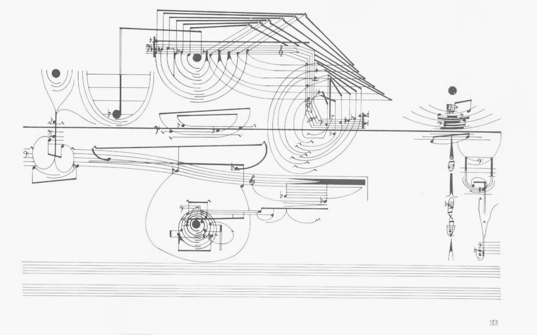Page from Cornelius Cardew's score for Treatise, 1963–67.