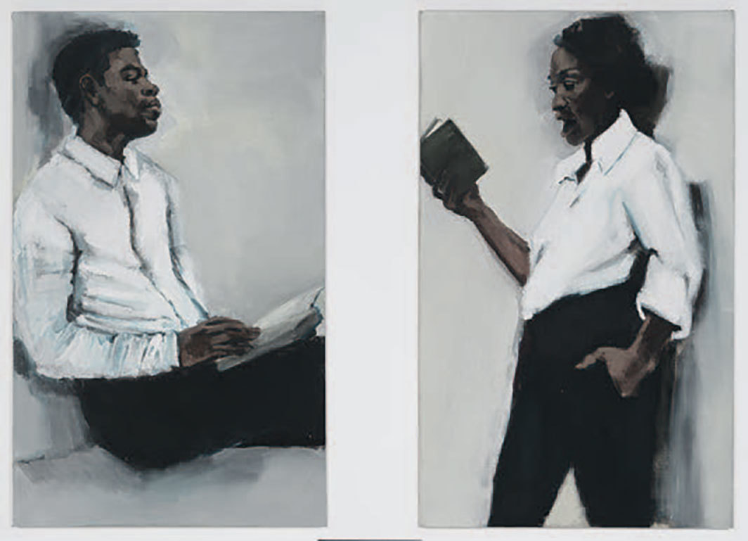 "*Lynette Yiadom-Boakye, _Lie to Me,_ 2019,* diptych, oil on linen, each panel 55 1⁄8 × 33 1⁄2""."