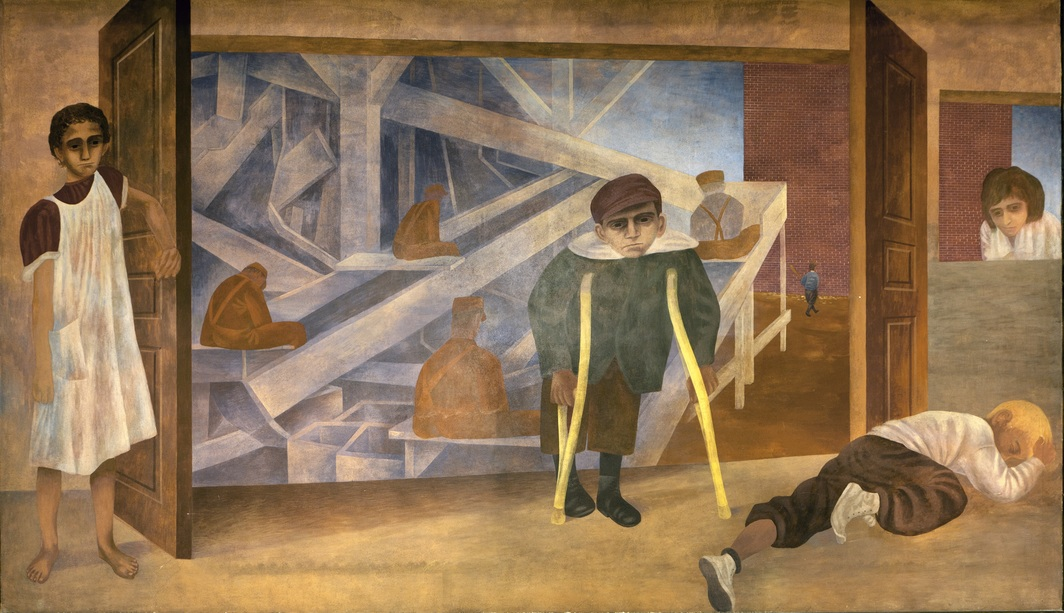 Ben Shahn, Child Labor, 1940–42, egg tempera on plaster, 9 x 15'. From the four-part mural scheme The Meaning of Social Security, 1940–42. Cohen Federal Building, Washington D.C. Photo: Carol M. Highsmith Archive/Library of Congress.