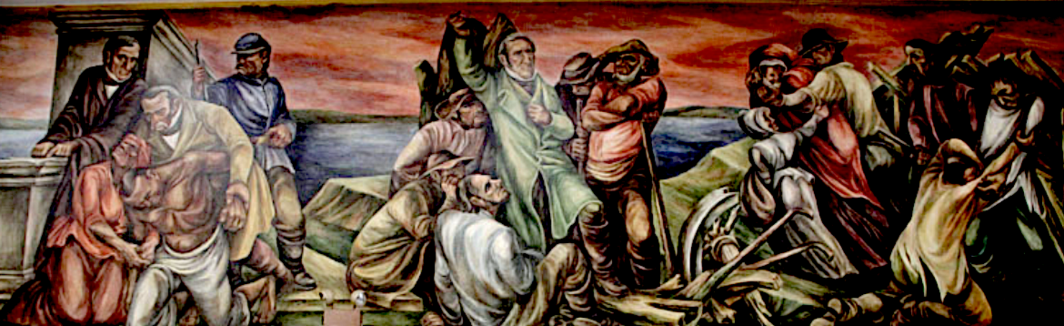 Edward Millman, Pre-Civil War Missouri (detail of south wall), 1940-42, fresco, 8'10'' x 29'. From Millman and Mitchell Siporin's 13-panel mural scheme for the United States Post Office, 1940-42. St. Louis, Missouri. Photo: Charles Swaney/ Creative Commons 2012.