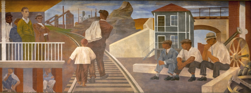 Ben Shahn, Unemployment, 1940–42, egg tempera on plaster, 9 x 24'. From the four-part mural scheme The Meaning of Social Security, 1940–42. Cohen Federal Building, Washington D.C. Photo: Carol M. Highsmith Archive/Library of Congress.