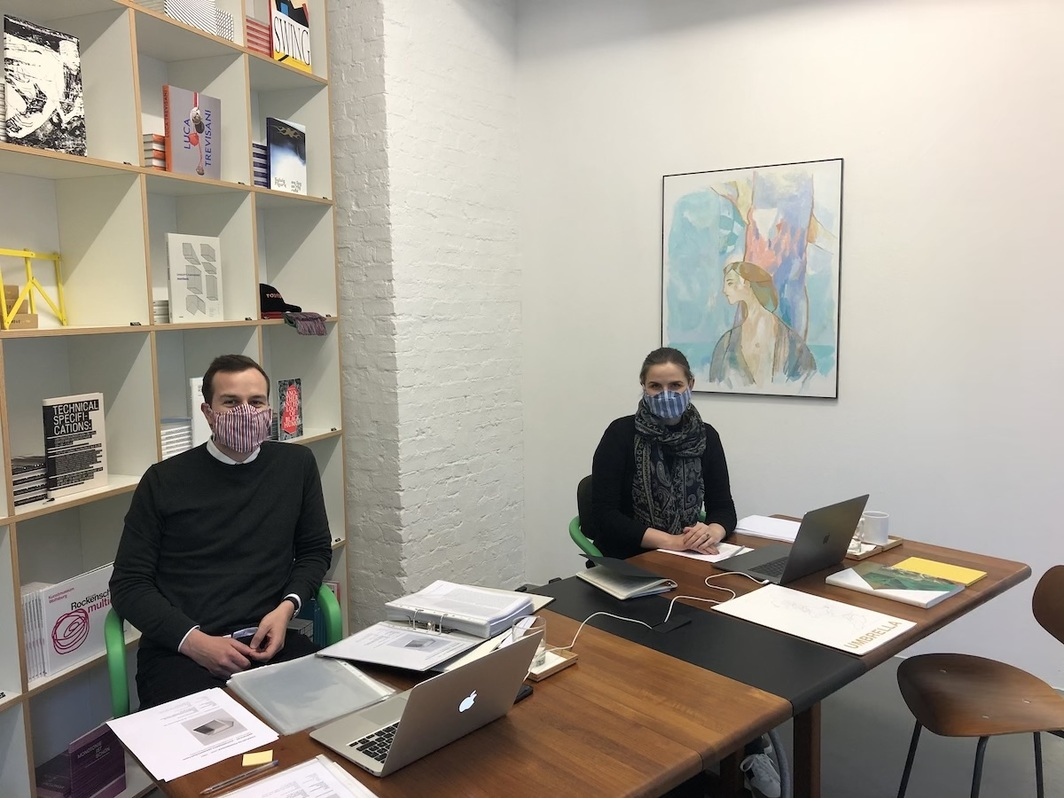 Daniel Pfau and Luisa Mann in Mehdi Chouakri, wearing face masks designed by April von Stauffenberg. All photos by author.