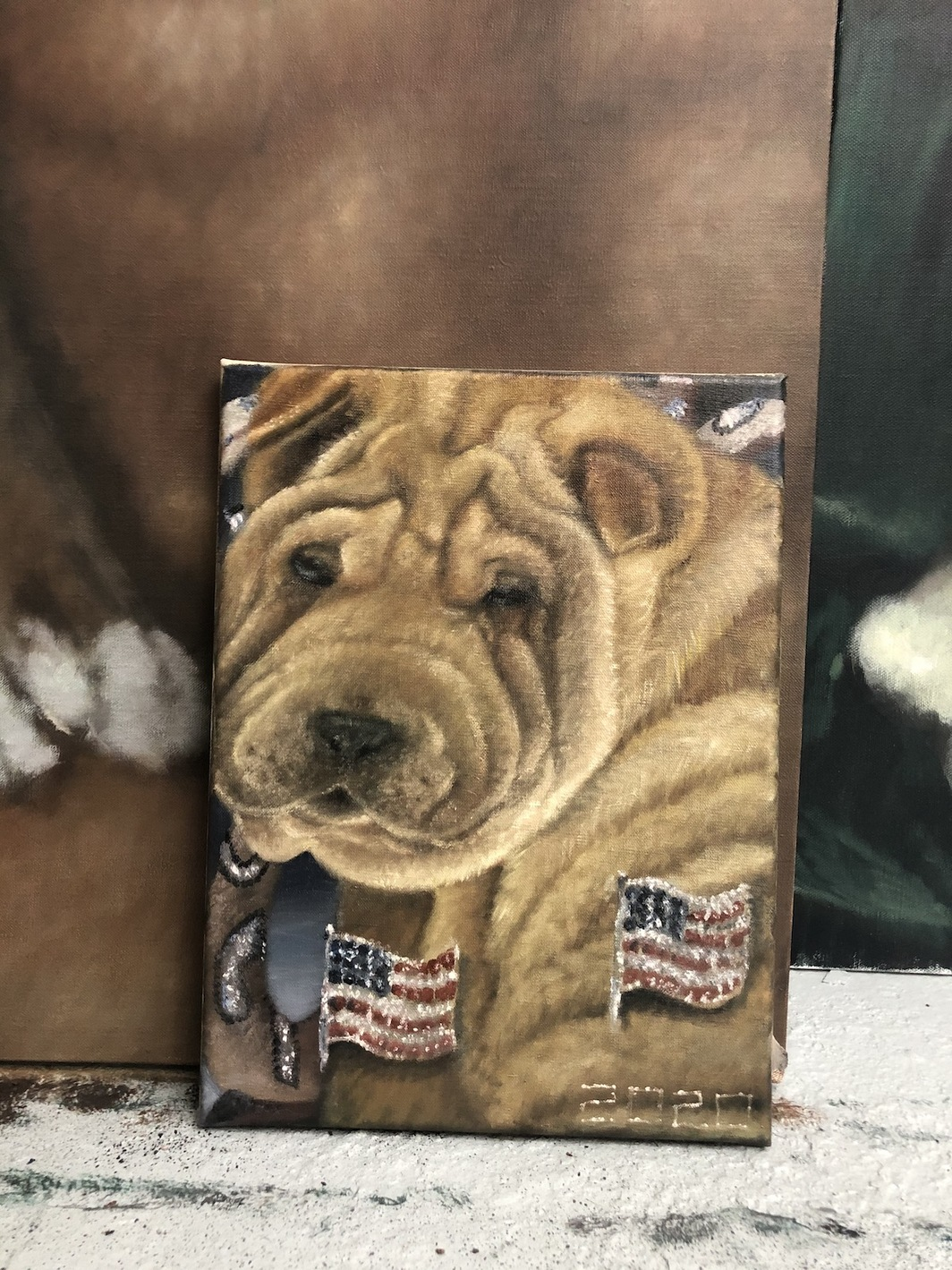 "Issy Wood, Shar-Pei! America!, 2020, oil on linen, 15 3/4 x 11 3/4""."