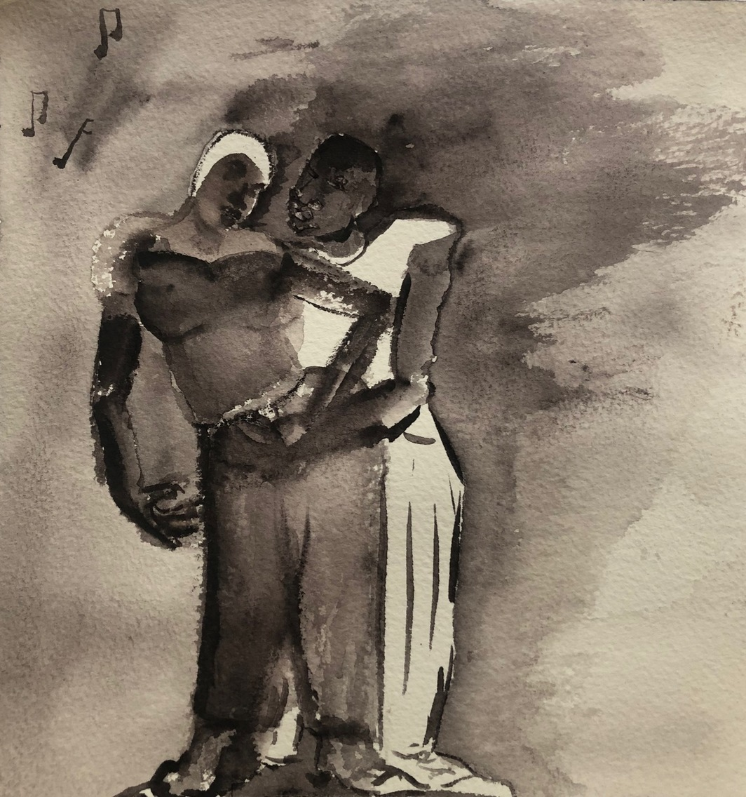 "Curtis Santiago, Lovers Rock, 2020, watercolor on paper, 8 x 8""."