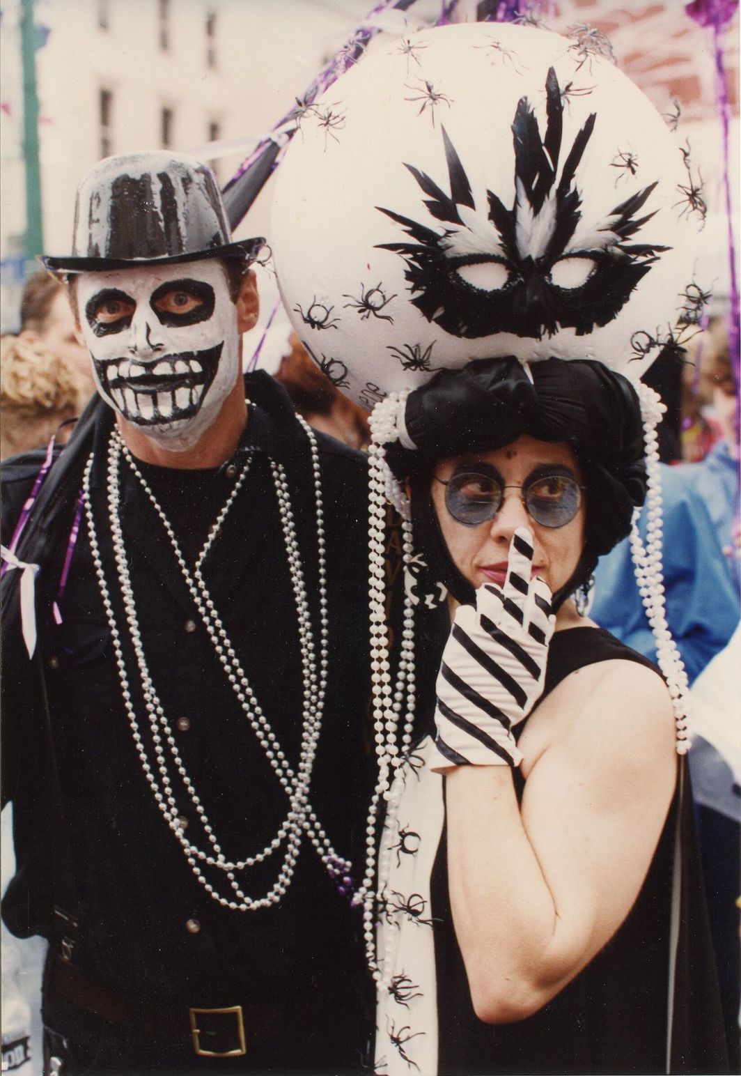 David Bradshaw and Tina Girouard in Mardi Gras parade in New Orleans, c. 1995. Photo: Robert Fiore.