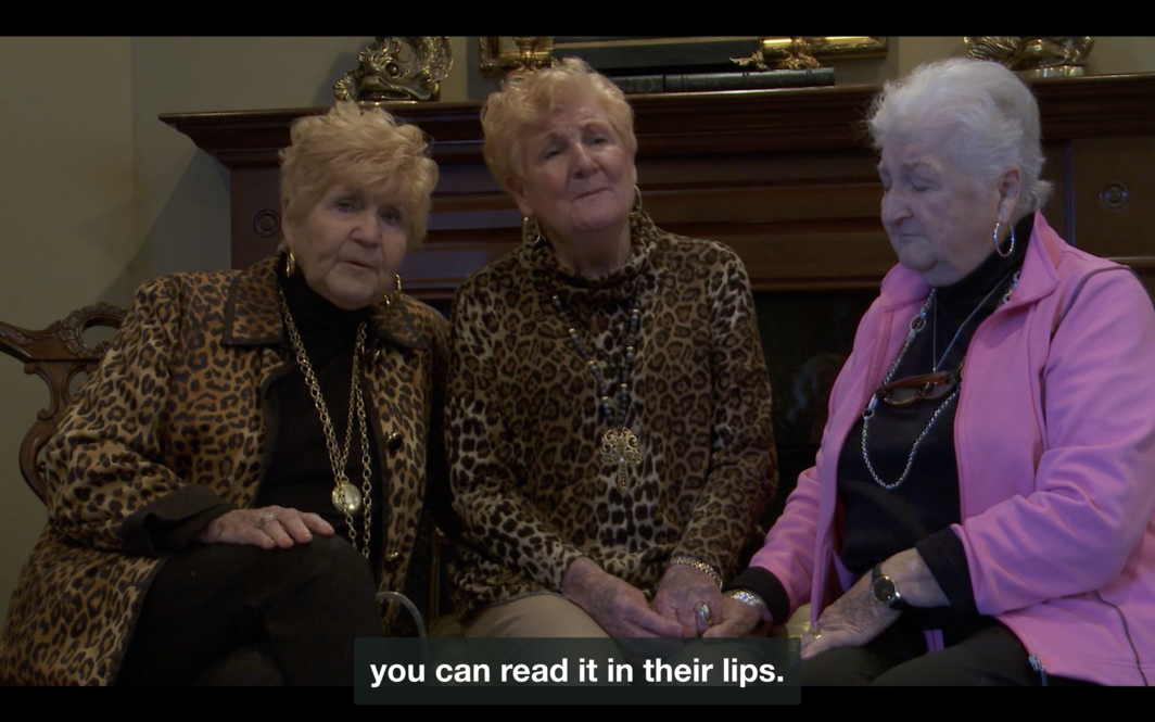 "Jordan Lord with Deborah Lord, I Can Hear My Mother's Voice, 2018, HD video, sound, color, 5 minutes. Artist-provided description: Three elderly white women, who appear to be sisters, sit next to each other, singing. Two of the women wear leopard print and have blonde hair with gold-colored jewelry. The third woman's hair is white. She wears a pink jacket, and her eyes are closed. She holds the hand of the woman seated in the center. On top of their hands, a caption reads: ""you can read it in their lips."""