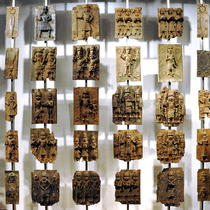 A display of Benin Bronzes at the British Museum. Photo: Wikipedia.
