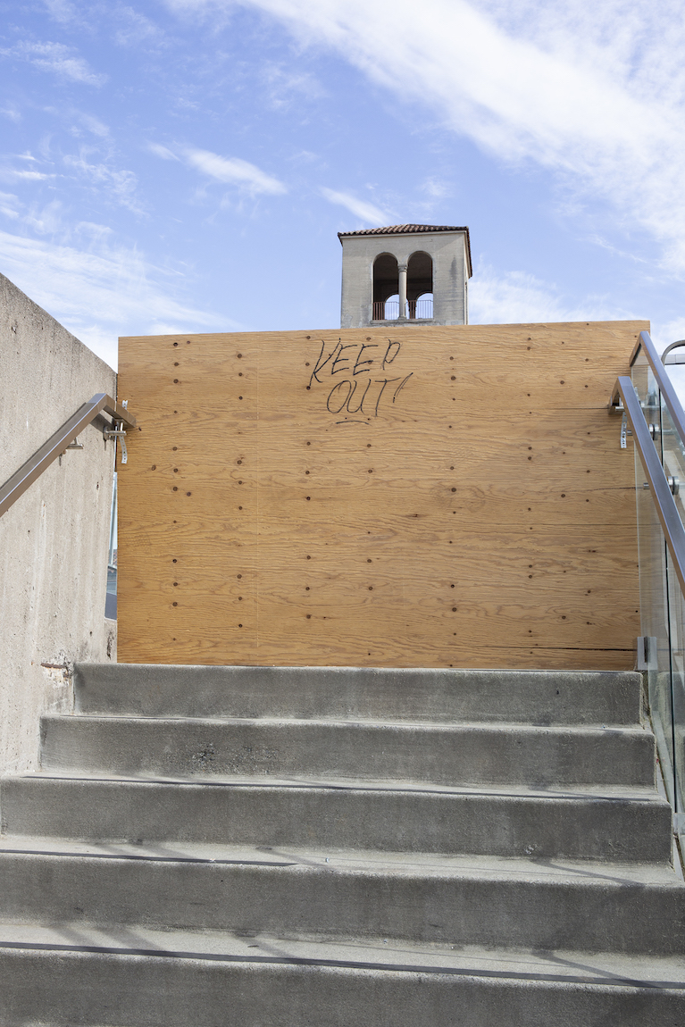 A shelter-in-place barricade blocks access to SFAI's tower, 2020. Photo: Lindsey White.