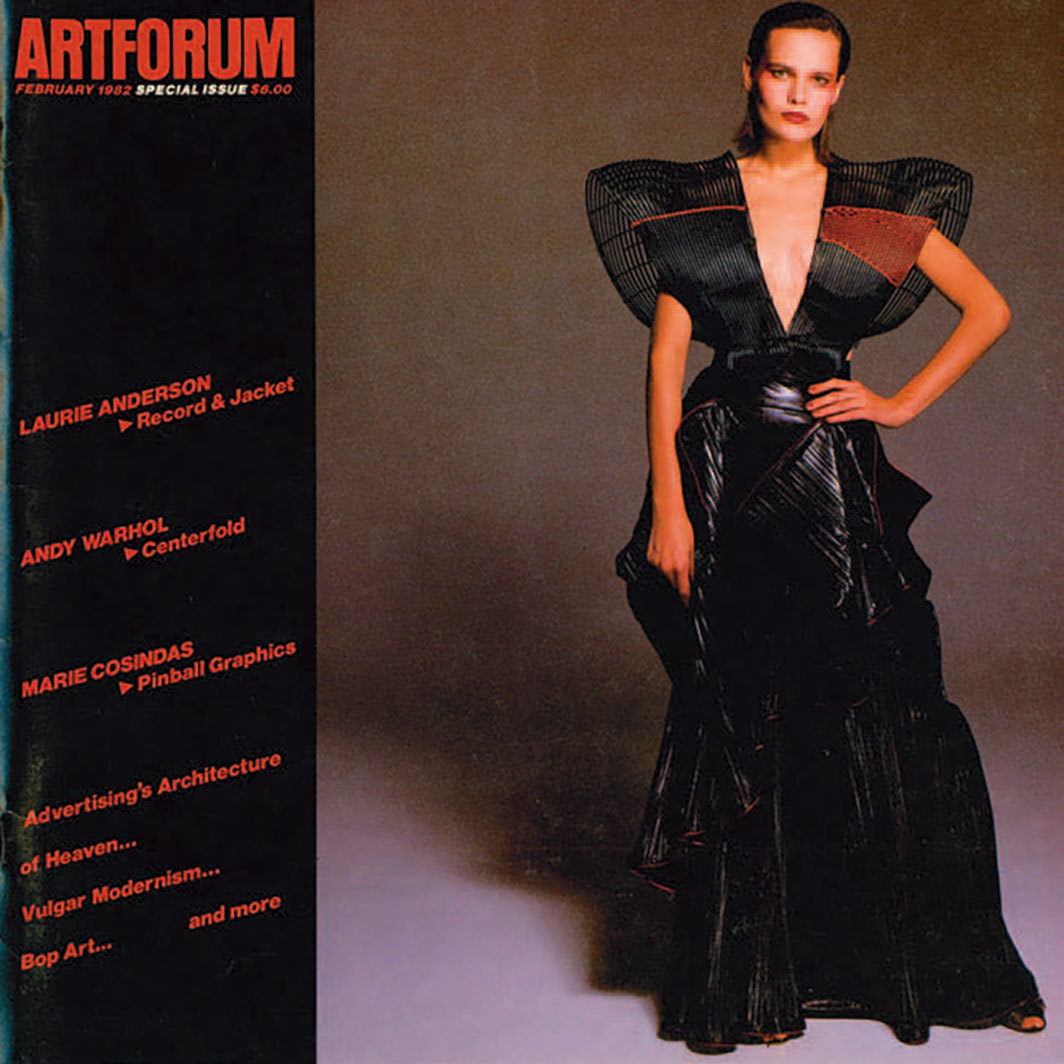 Cover of Artforum, February 1982. Look from Issey Miyake's Spring/Summer 1982 collection.