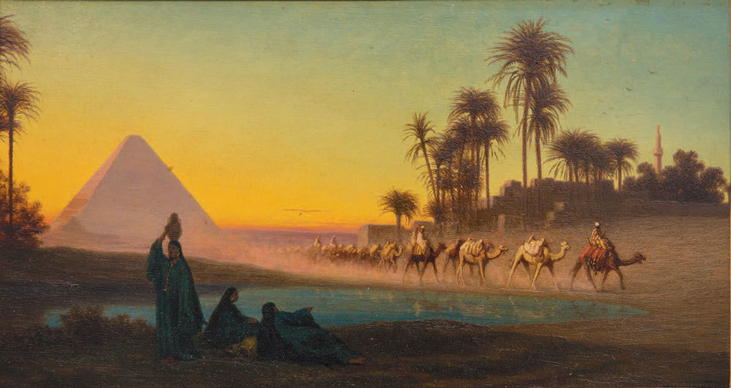 "Charles Théodore Frère, Grand Pyramid de Gyzeh, n.d., oil on panel, 8 1⁄2 × 15 1⁄8""."