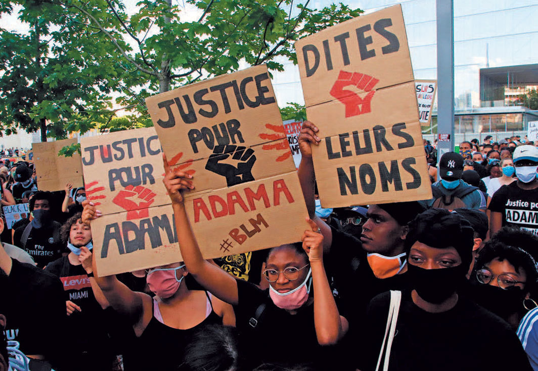 Protesters, Palais de Justice, Paris, June 2, 2020. Photo: Michel Euler/AP/Shutterstock.
