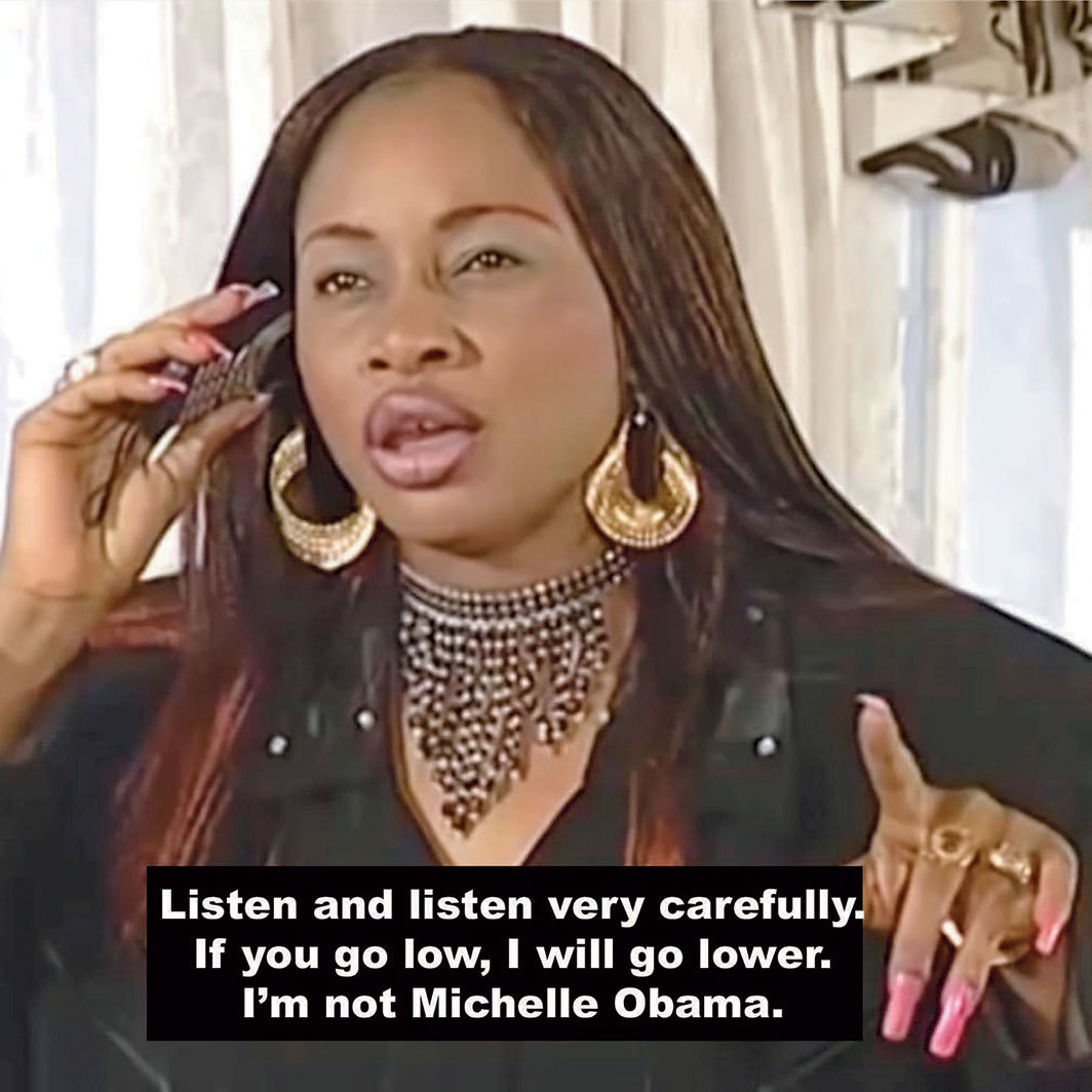 "Oroma Elewa, I'm Not Michelle Obama, 2019, digital C-print, 5 × 5"". From the series ""Area Babes and Ashawo Superstars,"" 2019–."