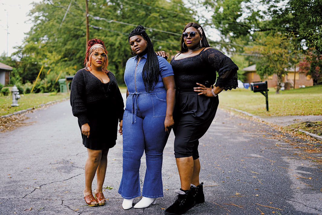 "Texas Isaiah, IN THE WILL OF GOD, 2020, ink-jet print, 36 × 54"". From left: Nikita Anastasia Pope, Fatima Jamal, Chanel Hudson."