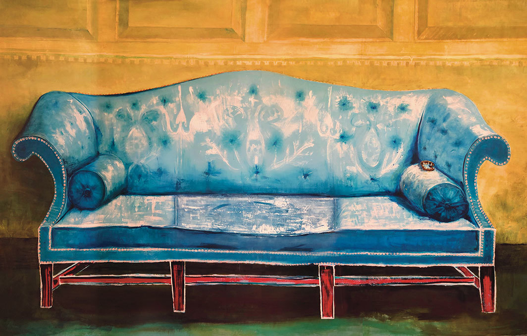 "Cy Gavin, Untitled (George Washington's Saxon Blue Sofa), 2020, acrylic, oil, iron fillings, teeth, and aquarelle pencil on canvas, 7' × 11' 3""."
