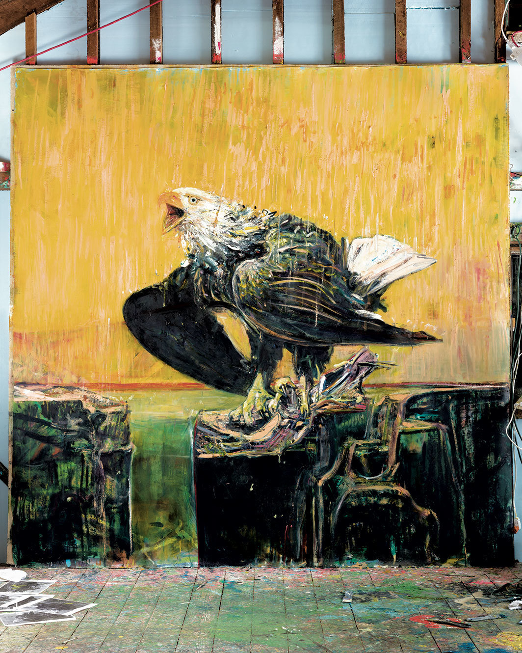 "Cy Gavin, Untitled (Bald Eagle), 2020, acrylic, oil, and oil stick on canvas, 90 × 90"". Installation view, Cy Gavin's studio, upstate New York."