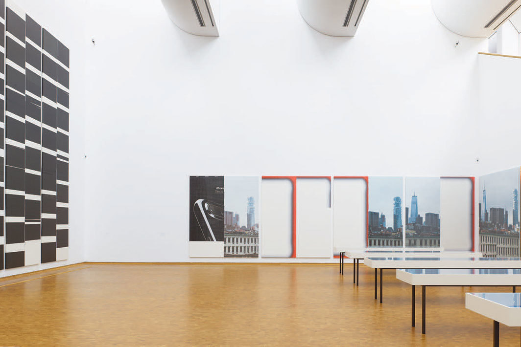 "View of ""Wade Guyton: Zwei Dekaden MCMXCIX–MMXIX,"" 2019–20. Walls, from left: Untitled (detail), 2010; Untitled, 2017. Floor: Zeichnungen für ein grosses Bild, 2010. Photo: Simon Vogel."
