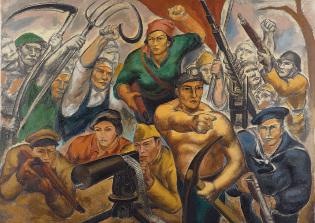 "Eitarō Ishigaki, Soldiers of the People's Front (The Zero Hour), ca. 1936–37, oil on canvas, 58 1⁄2 × 81 1⁄2""."