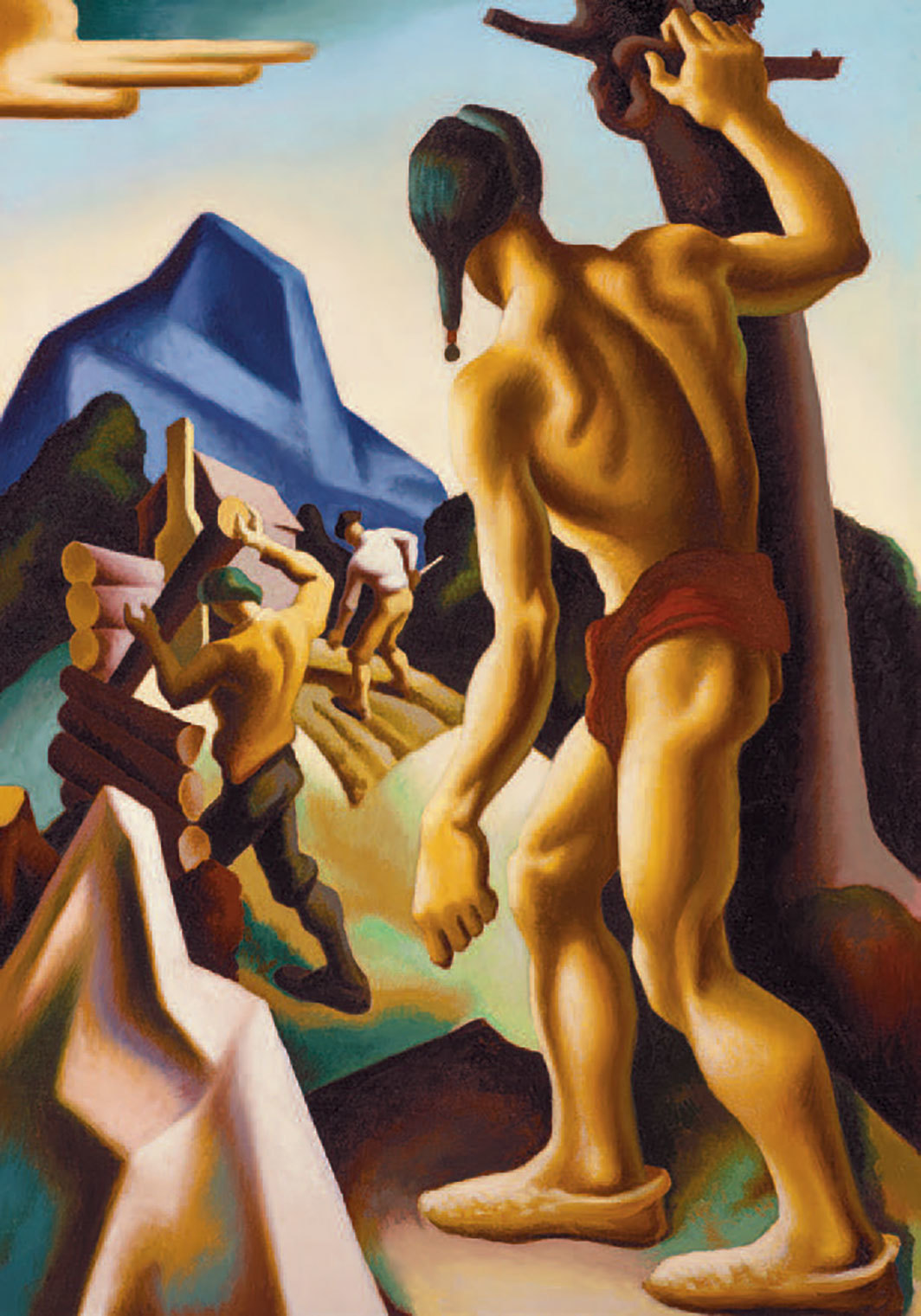 "Thomas Hart Benton, Lost Hunting Ground, 1927–28, oil on canvas mounted on aluminum, 60 1⁄4 × 42 1⁄8"". From the series ""American Historical Epic,"" 1920–28. © T.H. Benton and R.P. Benton Testamentary Trusts/UMB Bank Trustee/Licensed by VAGA at Artists Rights Society (ARS), New York."