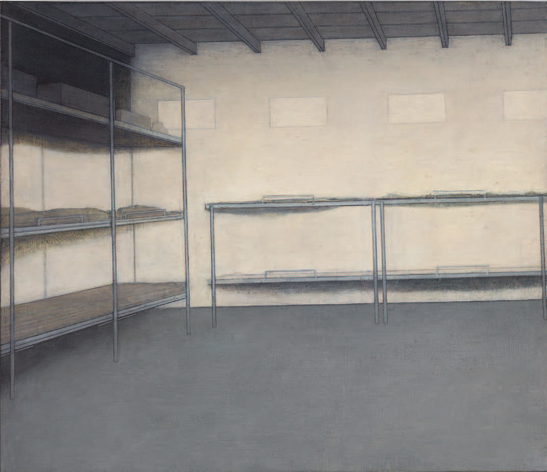 "Adrian Morris, Bunkhouse, ca. 1985, oil on board, 35 7⁄8 × 42 1⁄8""."