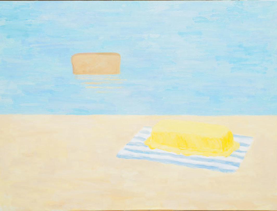 "Scott Reeder, Bread & Butter (Beach), 2019, acrylic and oil on canvas, 30 × 40""."