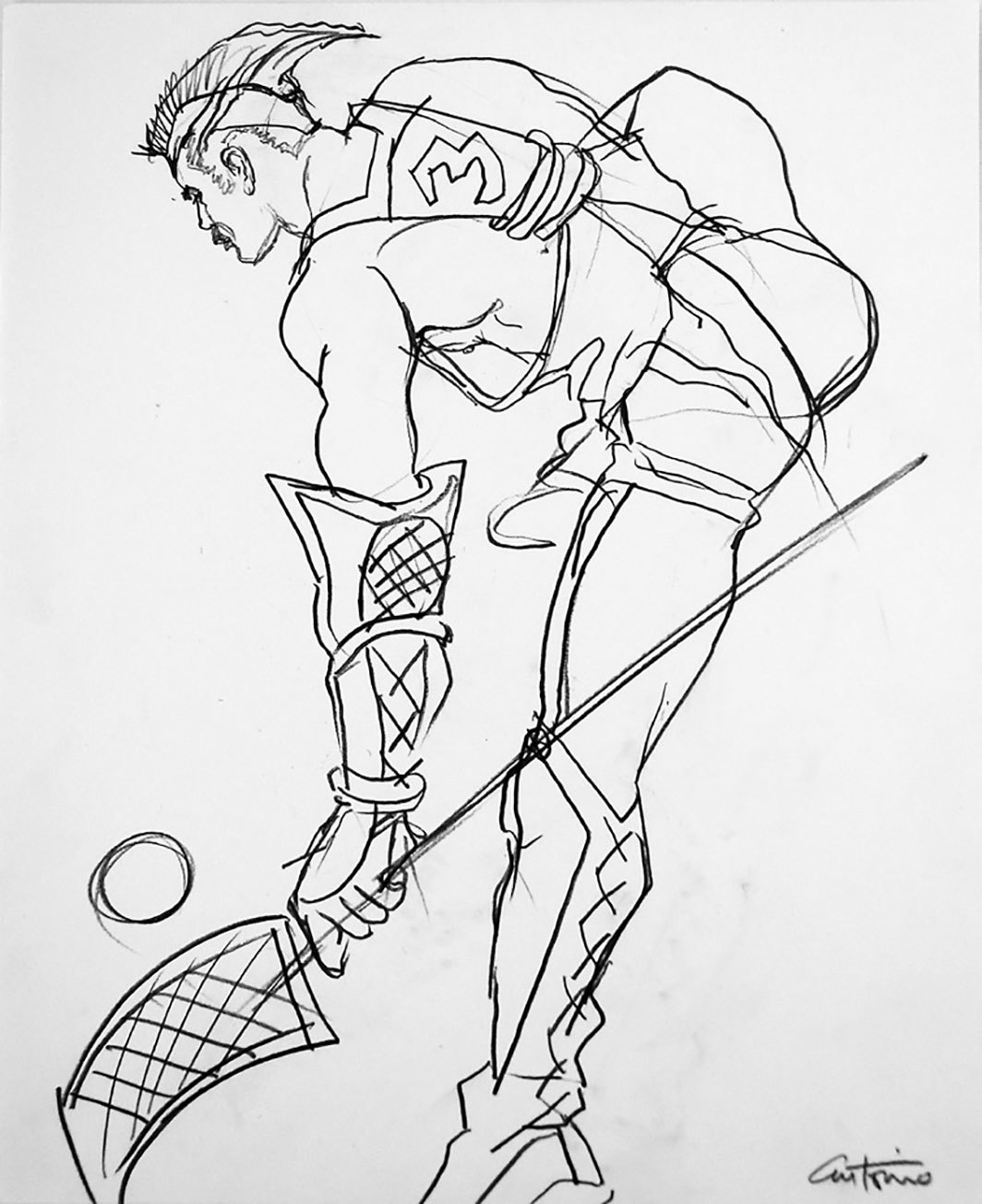 "Antonio Lopez, Body Study (Lacrosse), Louis Falco Dance Company, 1985, graphite on paper, 17 × 14""."
