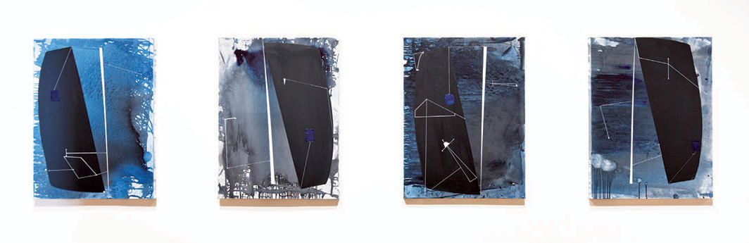 "Torkwase Dyson, Way Over There Inside Me (Ocean as a Super Throughway #1–4), 2020, four panels, graphite, acrylic, charcoal, and ink on canvas, each 40 × 30"". From the series ""Black Compositional Thought: 15 Paintings for the Plantationocene,"" 2020."