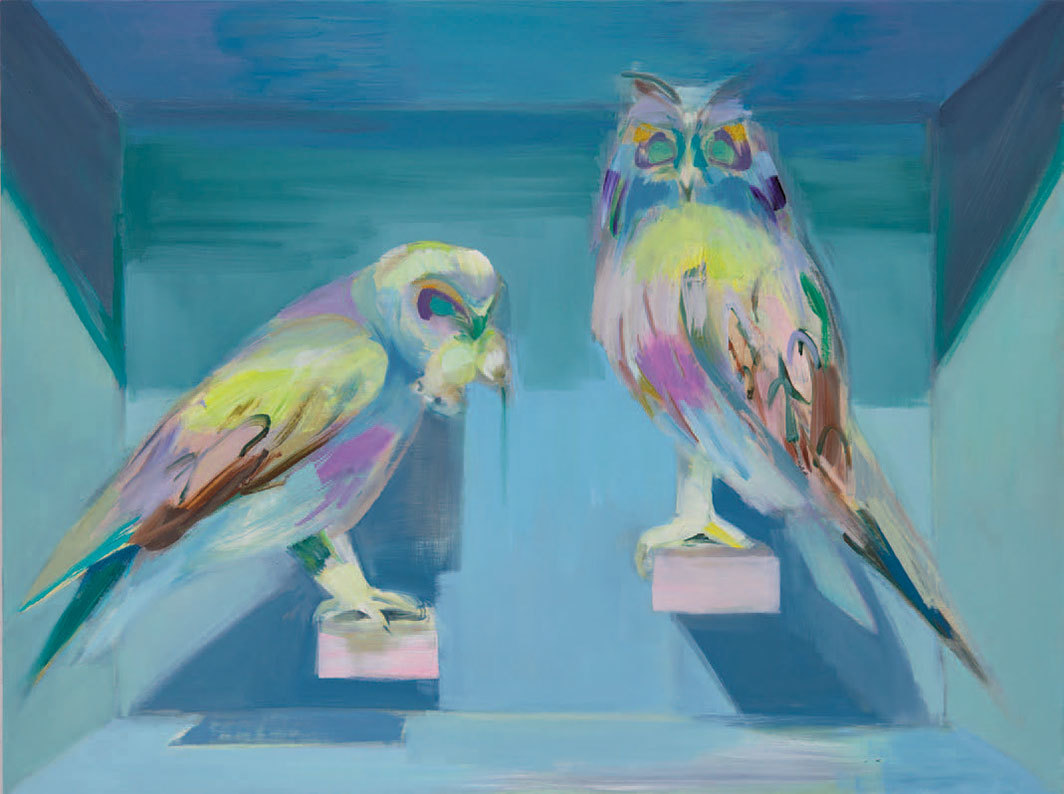 "Mairead O'hEocha, Two Owls, 2020, oil on board, 24 3⁄4 × 33 1⁄8""."