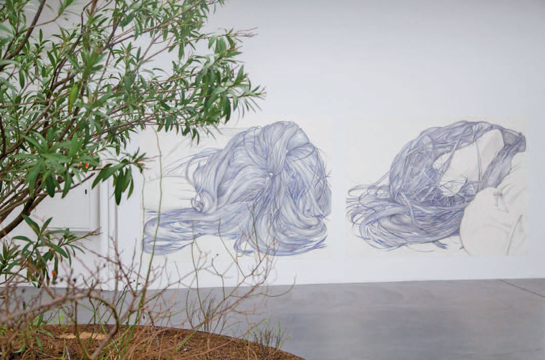 "View of ""Marlene McCarty,"" 2020. Background from left: ""14"" (2), 2014; ""14"" (4), 2014. Foreground: Into the Weeds, 2019."