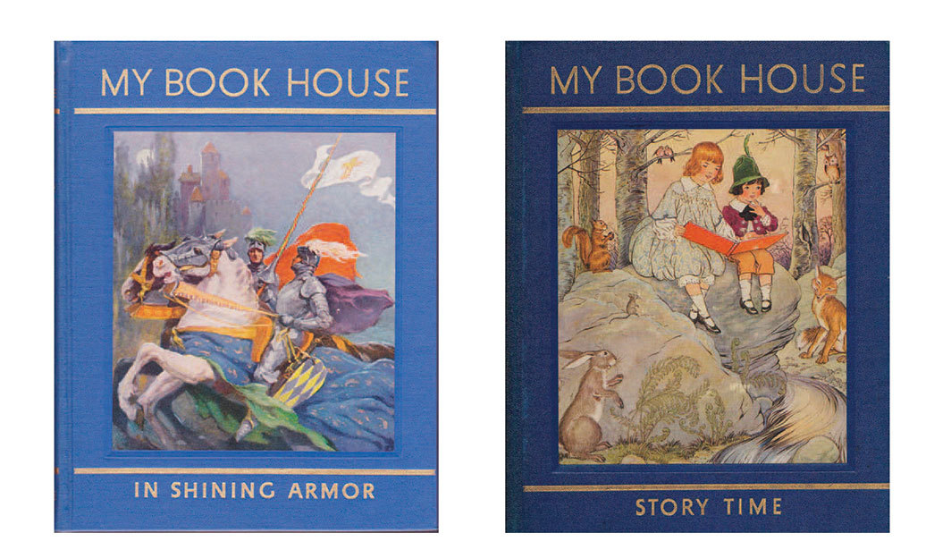 *Covers of the 1937 editions of Olive Beaupré Miller's _My Book House,_ vol. 11, _In Shining Armor,_ 1932, and _My Book House: Story Time,_ 1925* (The Book House for Children, 1937).