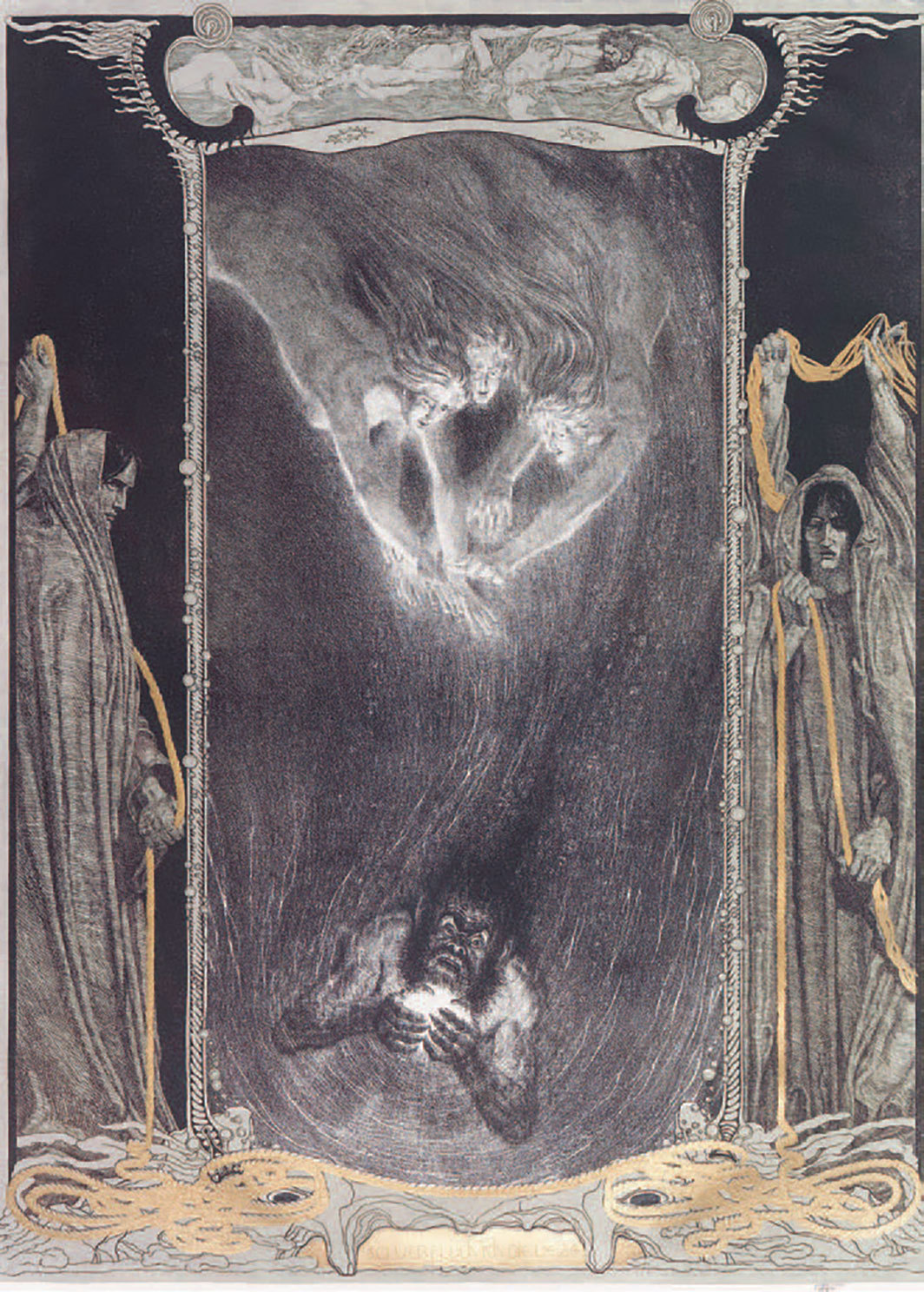 *Franz Stassen illustration from 1916 depicting Richard Wagner's _Der Ring des Nibelungen_ (The Ring of the Nibelung), 1848–74.* From Part 1: _Das Rheingold_  (The Rhinegold).