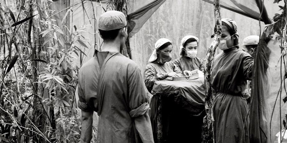 Võ An Khánh, Mobile military medical clinic during the period when the enemy is defoliating U Minh Forest, 1970, digital print on archival paper, 23 5/8 x 25 3/4''.
