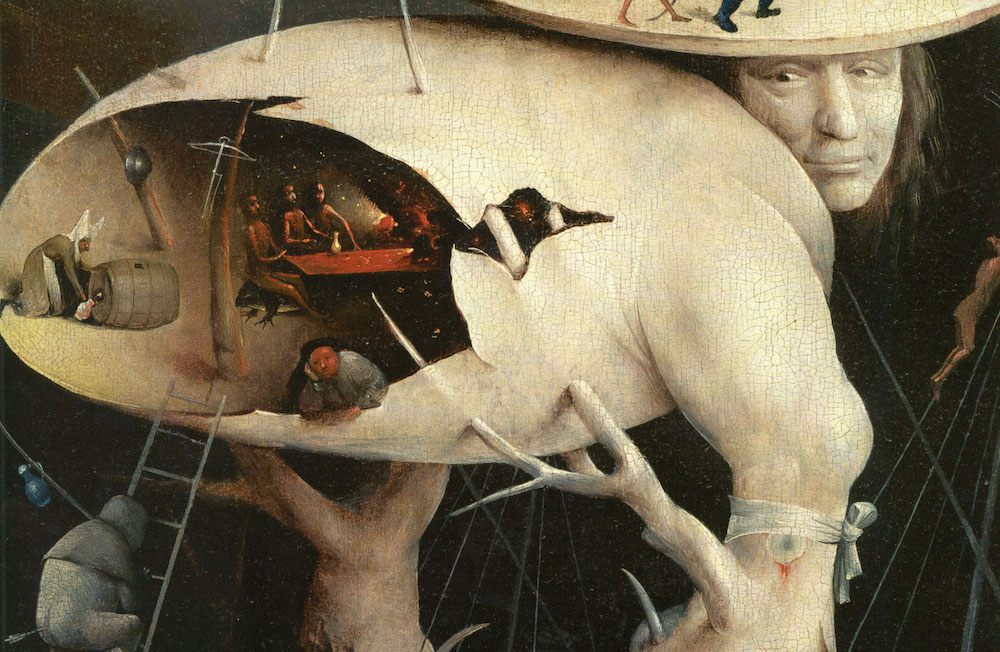 "Hieronymus Bosch, The Garden of Earthly Delights (detail), 1490–1510, oil on oak panels, 81 in x 152""."