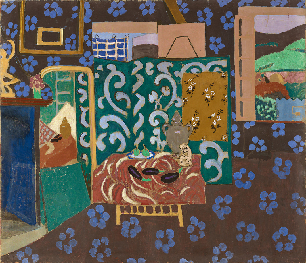 "Henri Matisse, Intérieur aux aubergines (Eggplant Interior), 1911, glue tempera on canvas, 82 1/2 × 96 7/8"". © Succession H. Matisse"