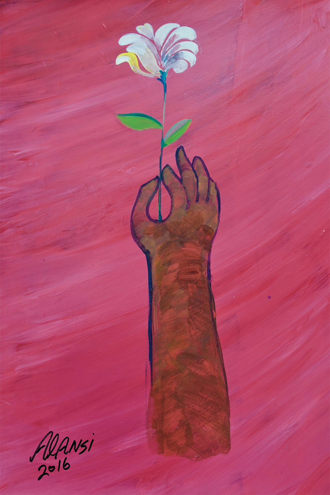 "Muhammad Ansi, Untitled (Hand Holding a Flower), 2016, acrylic on paper, 17 × 12""."
