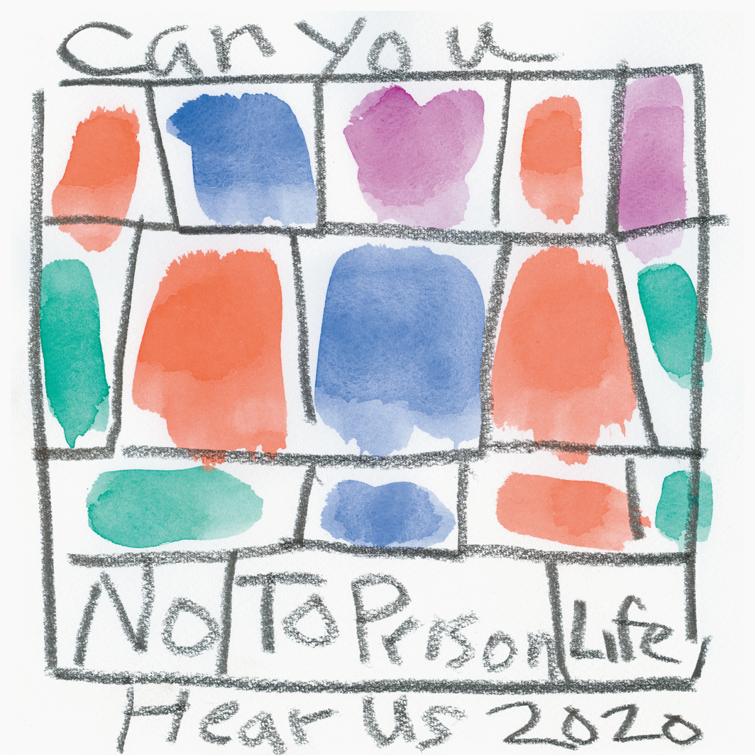 "Stanley Whitney, Untitled (Can You Hear Us—No to Prison Life), 2020, watercolor and graphite on paper, 10 1⁄2 × 10 1⁄2""."