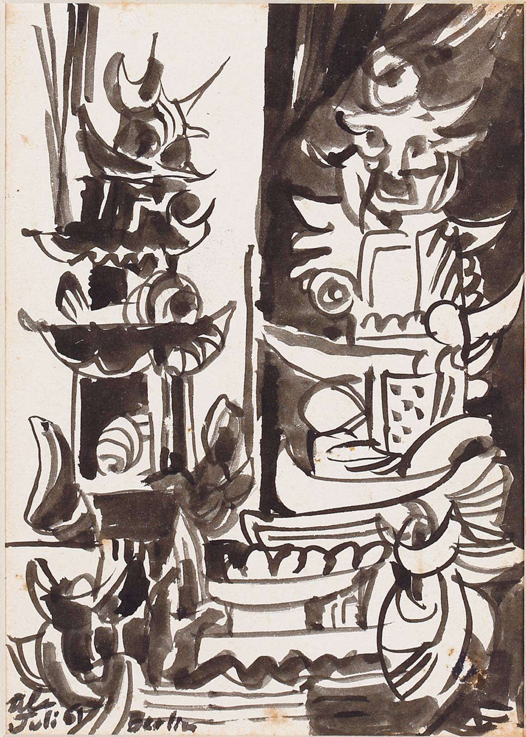 "Latiff Mohidin, Pagoden (Pagodas), 1961, ink on paper, 5 7⁄8 × 4 1⁄8"". From the series ""Pago Pago,"" 1960–69."