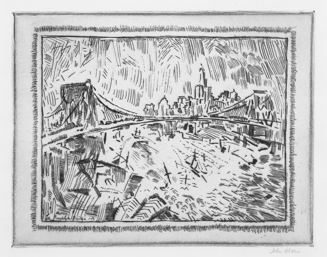 "John Marin, Brooklyn Bridge and Lower New York, 1913, etching and drypoint on paper, 6 3⁄4 × 8 1⁄2"". From ""New York, New York."""