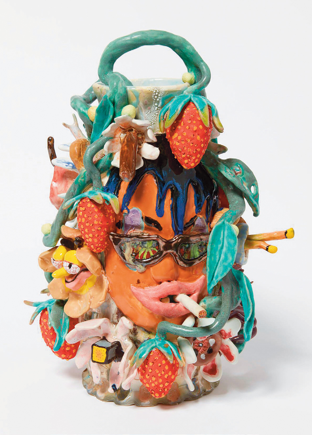 "Sharif Farrag, Sore Eyes, Tasting Strawberries, 2020, glazed porcelain, 13 1⁄2 × 10 × 10""."