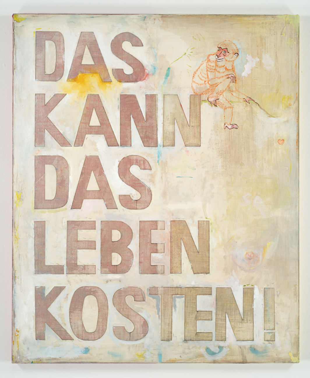 "Sophie Reinhold, Das kann das leben kosten (That Could Cost You Your Life), 2020, oil on marble powder on jute, 55 × 43 1⁄4""."