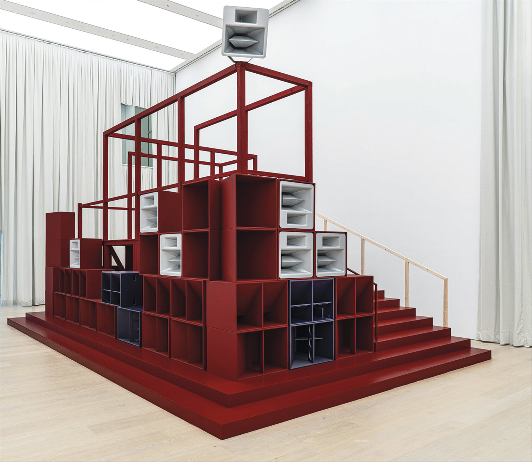 Cevdet Erek, Bergama Stereotip (Pergamon Stereotype), 2019–20, architectural construction with thirteen-channel sound, speakers, amplifiers, computer, audio interface, wood, metal, molton curtain. Installation view. Photo: flufoto.