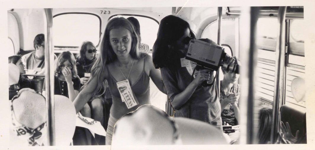 Jody Sibert and Wendy Appel interview a busload of Young Republicans at the 1972 Republican National Convention.
