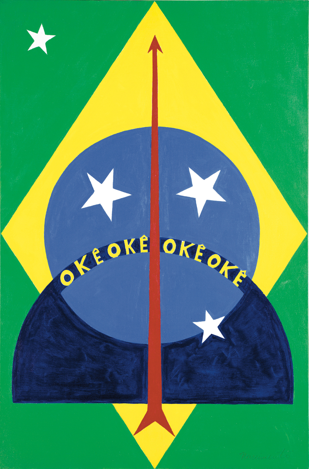 "Abdias do Nascimento, Okê Oxóssi, 1970, acrylic on canvas, 35 3/8 × 23 5/8""."