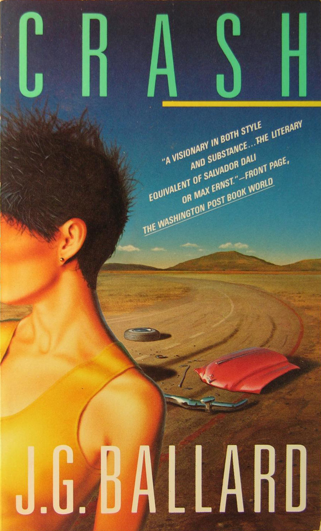 Cover of the 1985 edition of J.G. Ballard's 1973 Crash (Vintage Books, 1985).