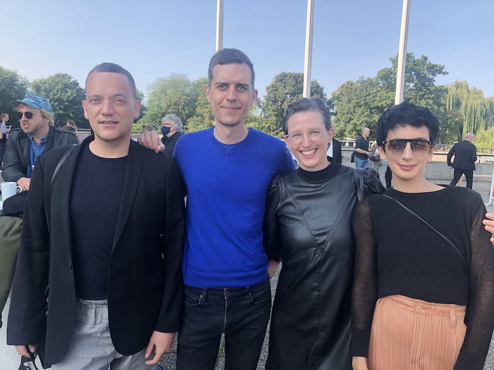 Dealer Gregor Hose, artist Christian Falsnaes, dealer Sabine Schmidt, and curator Daniela Brunand.