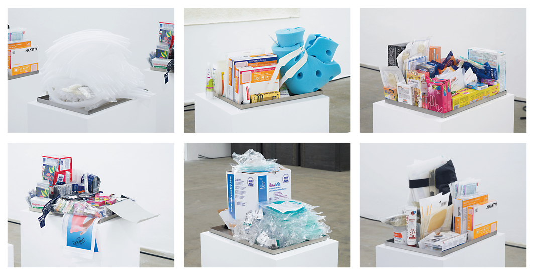 "Six works from Park McArthur's ""Contact"" series, 2015–16, medical products and devices, stainless steel trays. Installation views, Chisenhale Gallery, London. Photos: Andy Keate.  [A grid of six images, each showing a sculpture made of a thin metal tray nearly overflowing with single-use items in colorful packaging. Each sculpture is displayed on a white plinth.]"