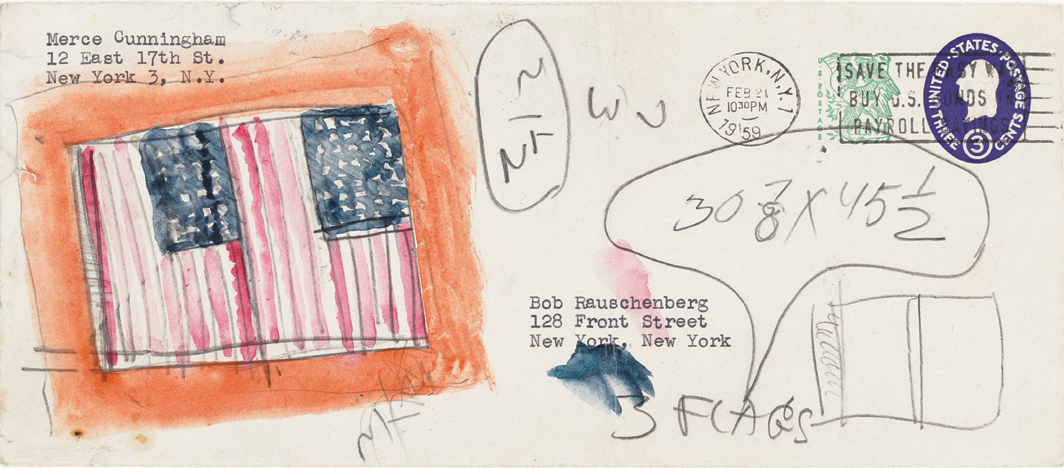"Jasper Johns, Flag Study, 1959, watercolor and graphite on found paper envelope, 4 1/8 × 9 1/2"". © Jasper Johns/Licensed by VAGA at Artists Rights Society (ARS), NY."