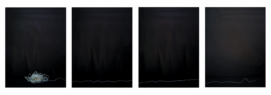 "Luciano Perna, String in Four Parts, 2020, four ink-jet prints, each 22 × 17""."